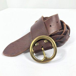 Lucky Brand Brown Braided Leather Belt Floral M/L